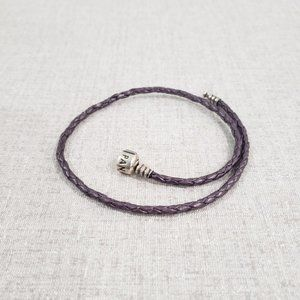 Retired Pandora Purple Leather Wrap Bracelet